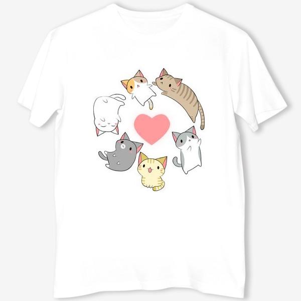 Футболка «Кавайные котики с сердечком»