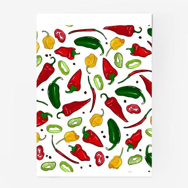 Постер «разноцветные острые перцы»