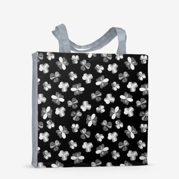 Сумка-шоппер «Белые легкие цветочки на черном»