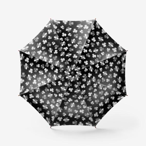 Зонт «Белые легкие цветочки на черном»