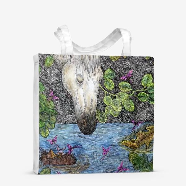 Сумка-шоппер «Ежик в тумане и белая лошадь»