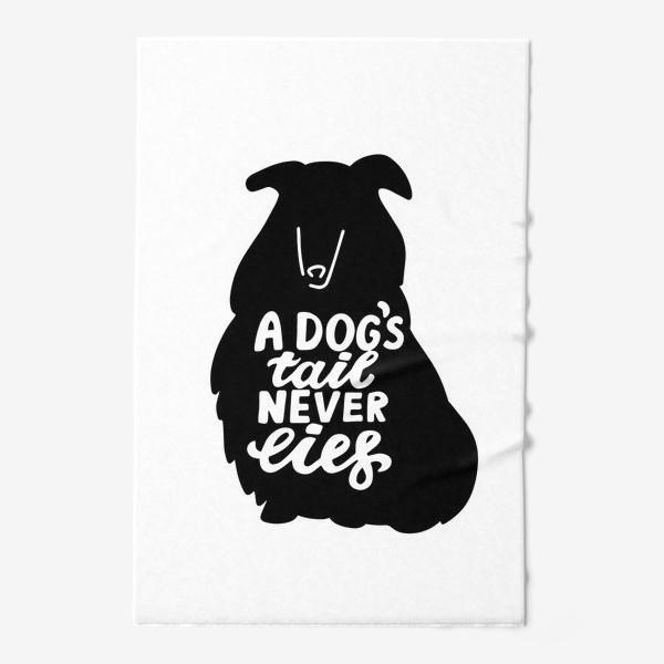 Полотенце «Колли с надписью A dog tail never lies. Собаководам»