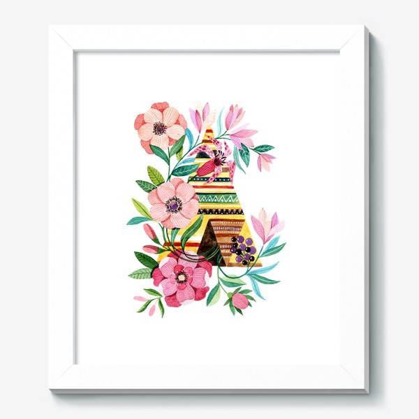 Картина «Вигвам с цветами»