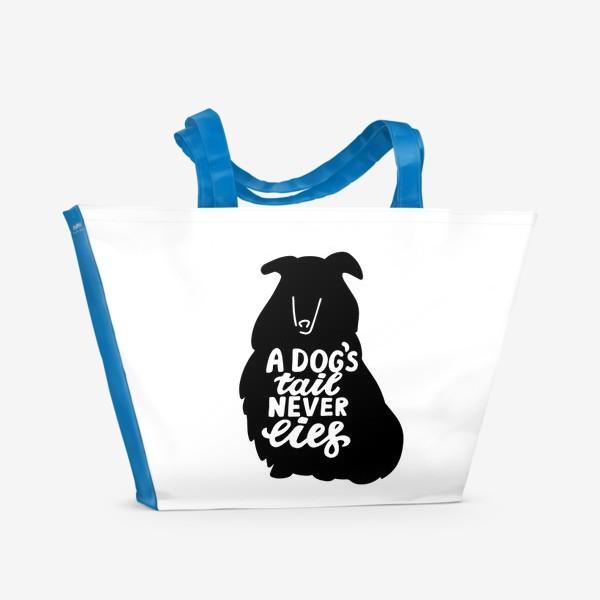 Пляжная сумка «Колли с надписью A dog tail never lies. Собаководам»