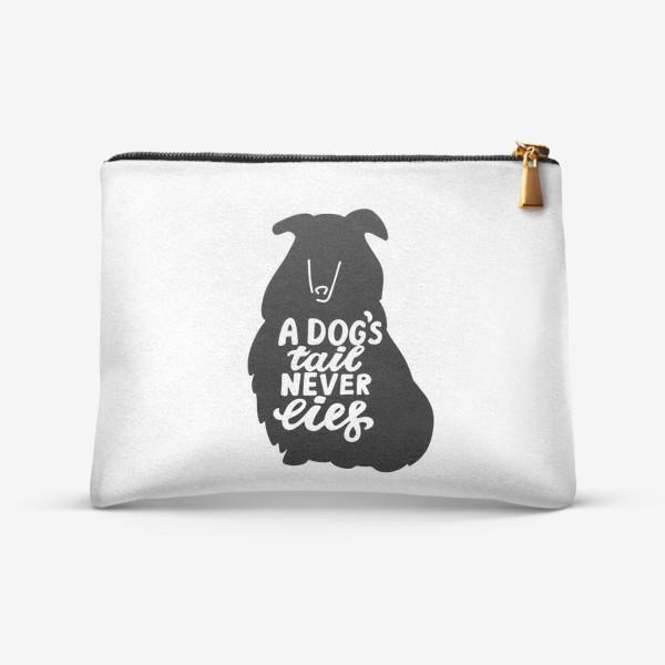 Косметичка «Колли с надписью A dog tail never lies. Собаководам»