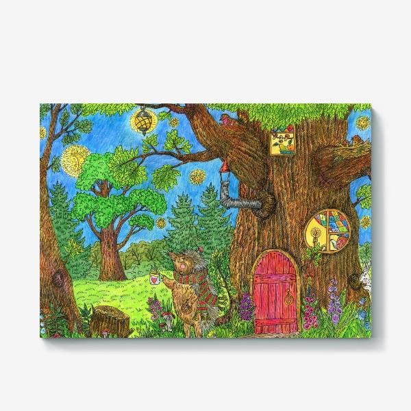Холст «Уютная осень маленького ежика»