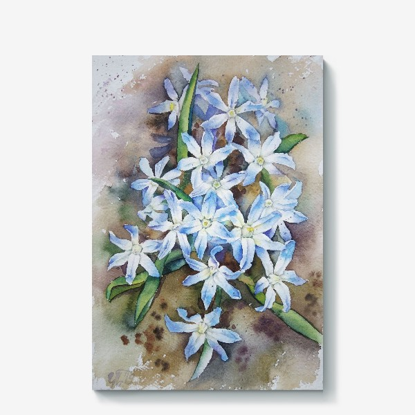 Холст «Акварель Голубые цветы»