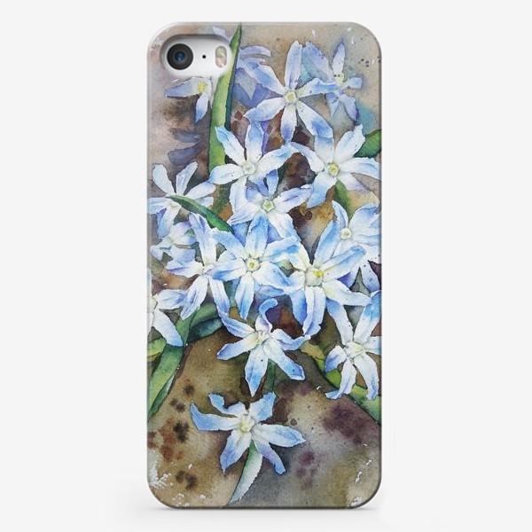 Чехол iPhone «Акварель Голубые цветы»