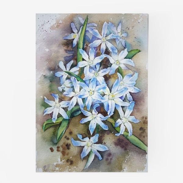 Постер «Акварель Голубые цветы»