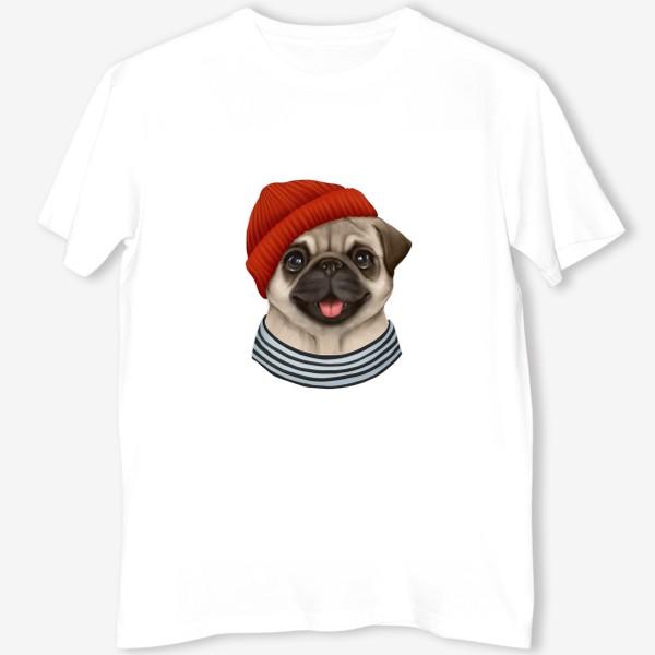 Футболка «Мопсик. Собака в красной шапке»