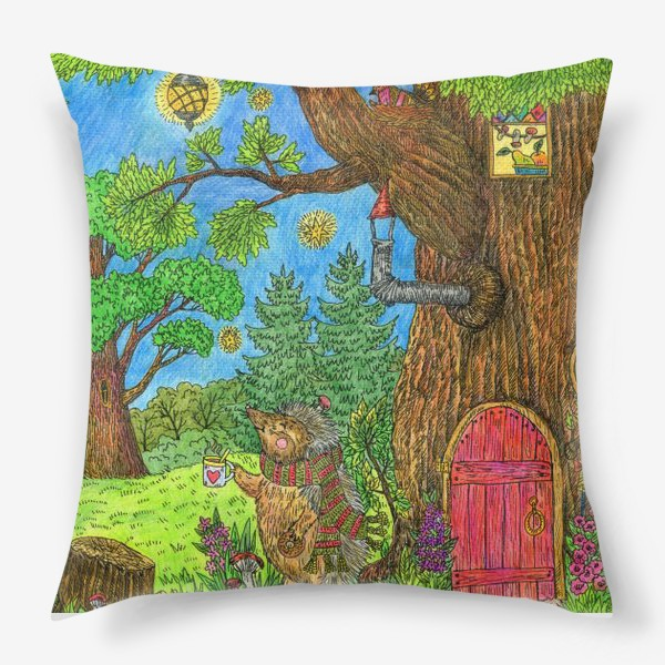 Подушка «Уютная осень маленького ежика»