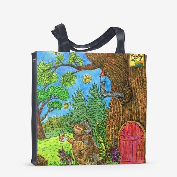 Сумка-шоппер «Уютная осень маленького ежика»