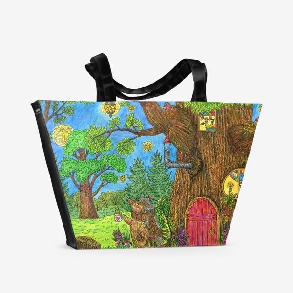 Пляжная сумка «Уютная осень маленького ежика»