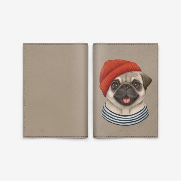 Обложка для паспорта «Мопсик на бежевом. Собака в красной шапке»