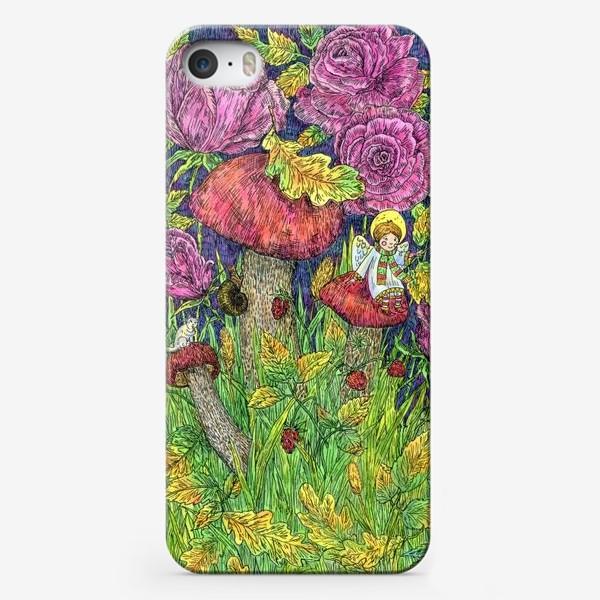 Чехол iPhone «Розы и грибы. Лесная сказка»