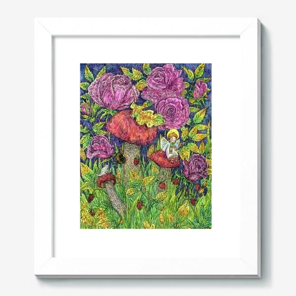 Картина «Розы и грибы. Лесная сказка»