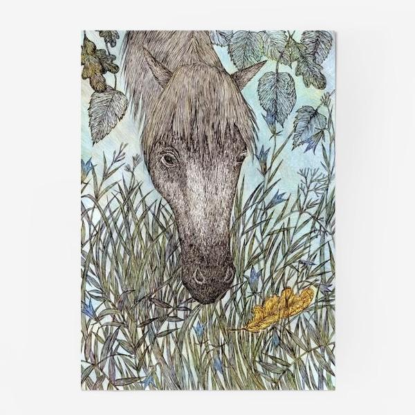 Постер «Лошадь и лесные колокольчики»