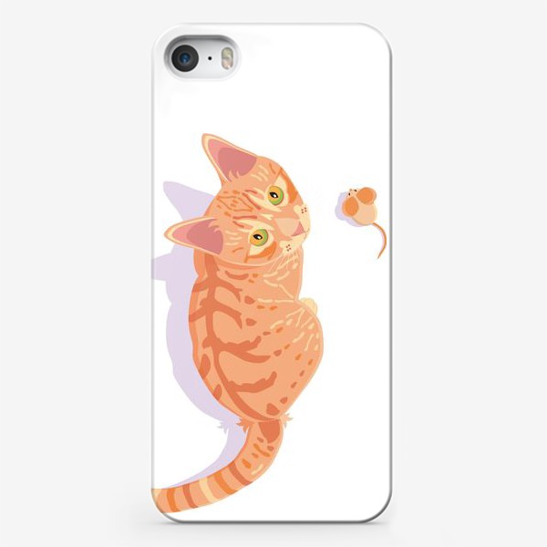 Чехол iPhone «Рыжий кот с мышкой»