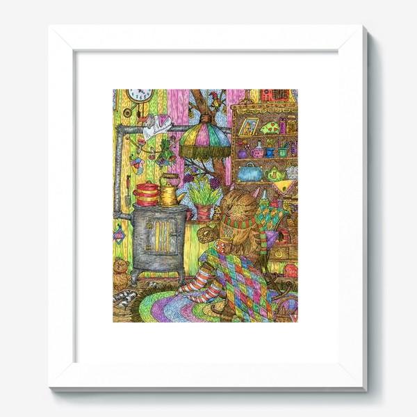 Картина «Уютная осень в избушке котика»