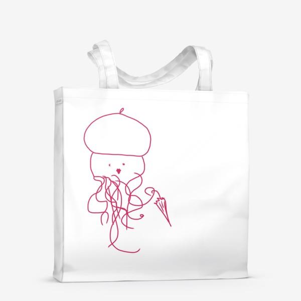 Сумка-шоппер «Модная медуза в ретро одежде»