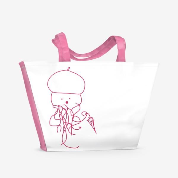 Пляжная сумка «Модная медуза в ретро одежде»