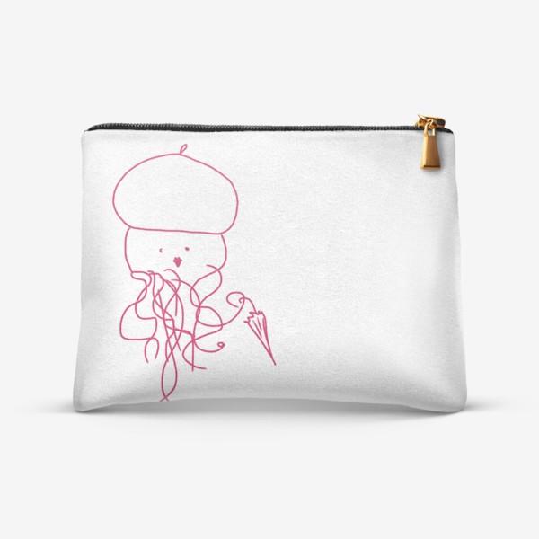 Косметичка «Модная медуза в ретро одежде»