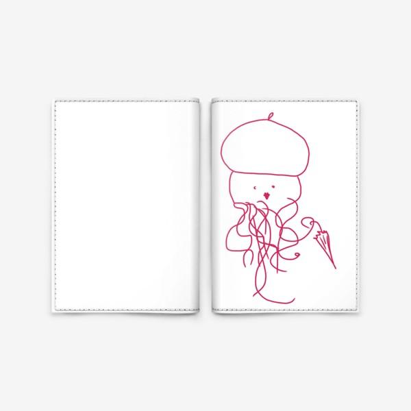 Обложка для паспорта «Модная медуза в ретро одежде»