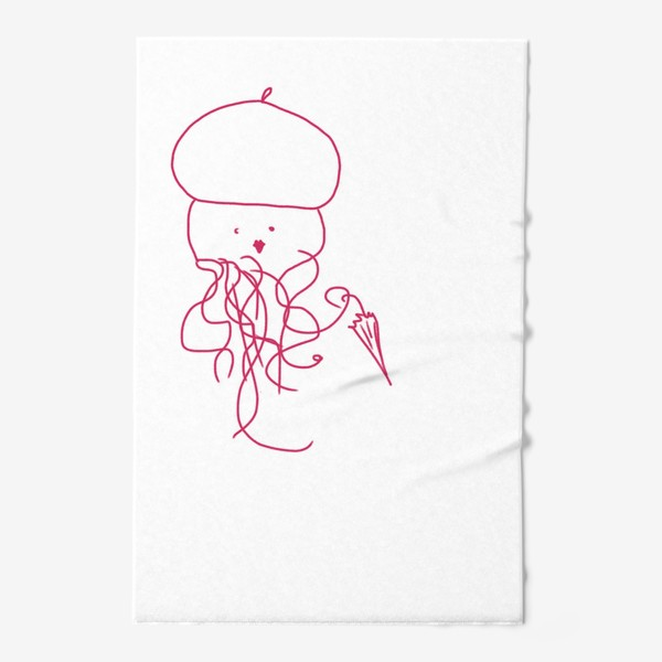 Полотенце «Модная медуза в ретро одежде»