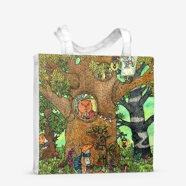 Сумка-шоппер «Лисенок в осеннем лесу»