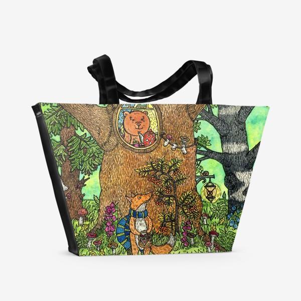 Пляжная сумка «Лисенок в осеннем лесу»