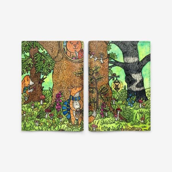 Обложка для паспорта «Лисенок в осеннем лесу»