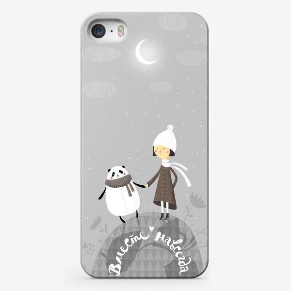 Чехол iPhone «Девочка и панда. Вместе навсегда!»