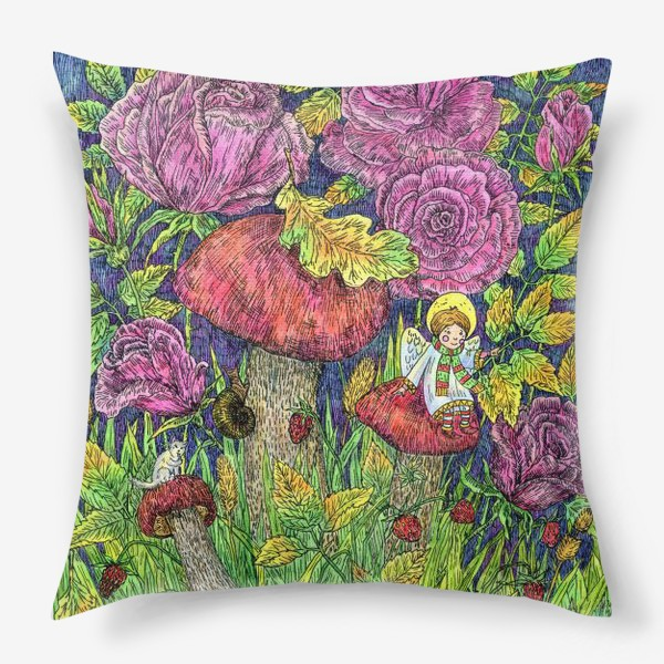 Подушка «Розы и грибы. Лесная сказка»