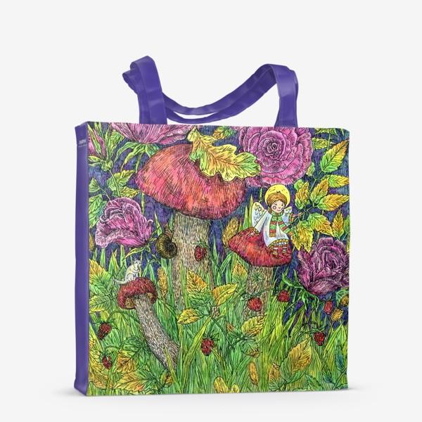 Сумка-шоппер «Розы и грибы. Лесная сказка»