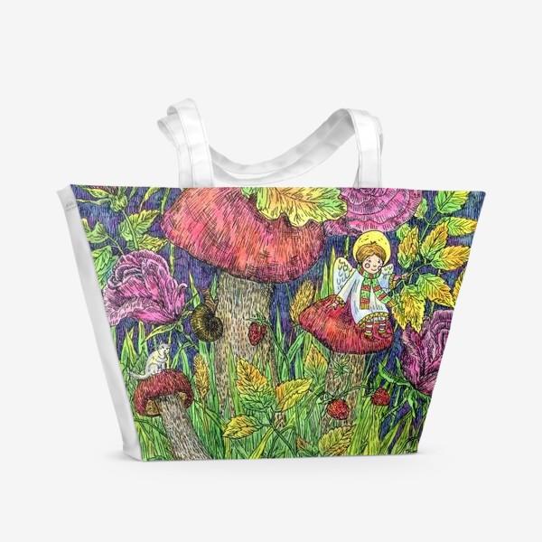 Пляжная сумка «Розы и грибы. Лесная сказка»