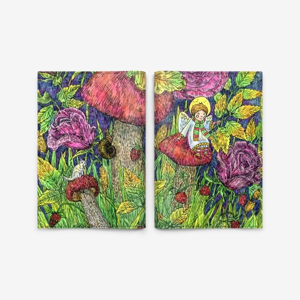 Обложка для паспорта «Розы и грибы. Лесная сказка»