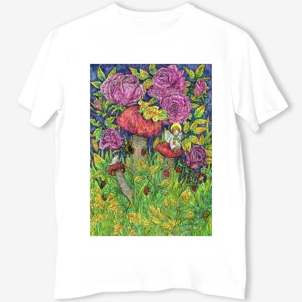 Футболка «Розы и грибы. Лесная сказка»
