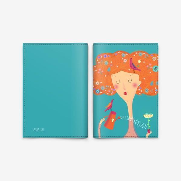 Обложка для паспорта «Девушка с птичками»