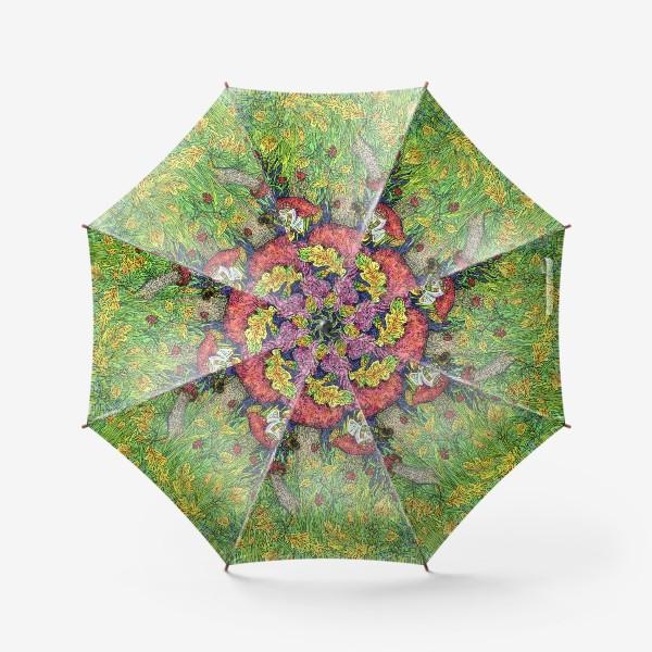 Зонт «Розы и грибы. Лесная сказка»