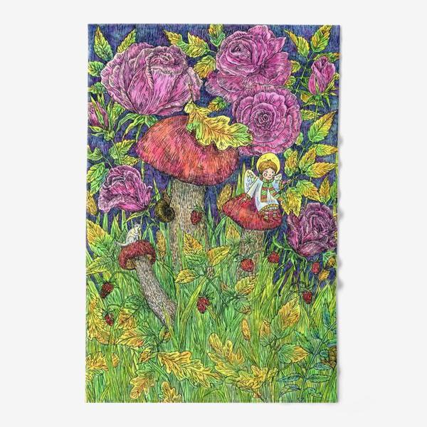 Полотенце «Розы и грибы. Лесная сказка»