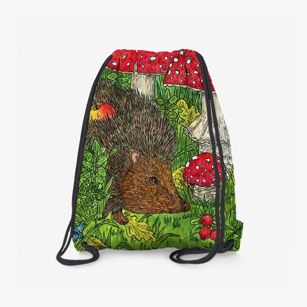 Рюкзак «Ёжик и мухоморы»