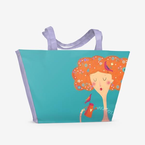 Пляжная сумка «Девушка с птичками»