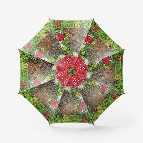 Зонт «Ёжик и мухоморы»
