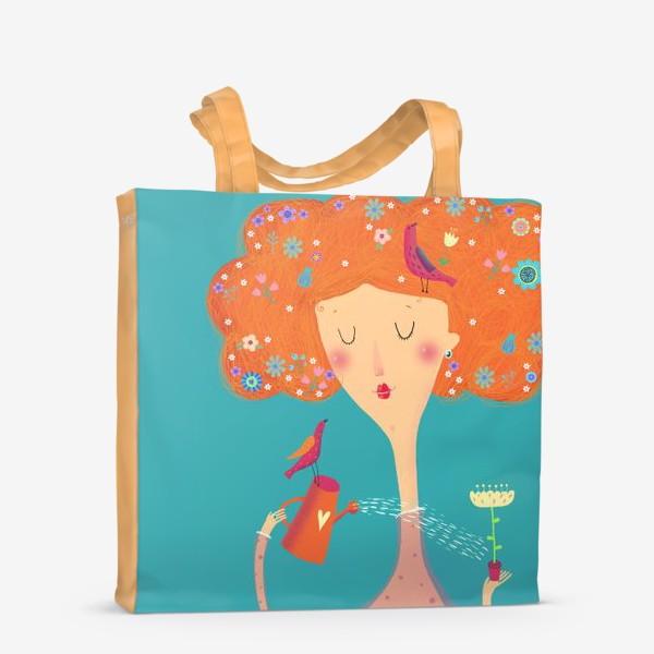 Сумка-шоппер «Девушка с птичками»