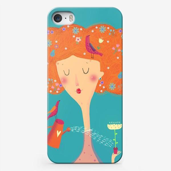 Чехол iPhone «Девушка с птичками»