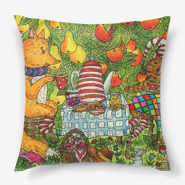 Подушка «Лис и кот пьют чай в саду»