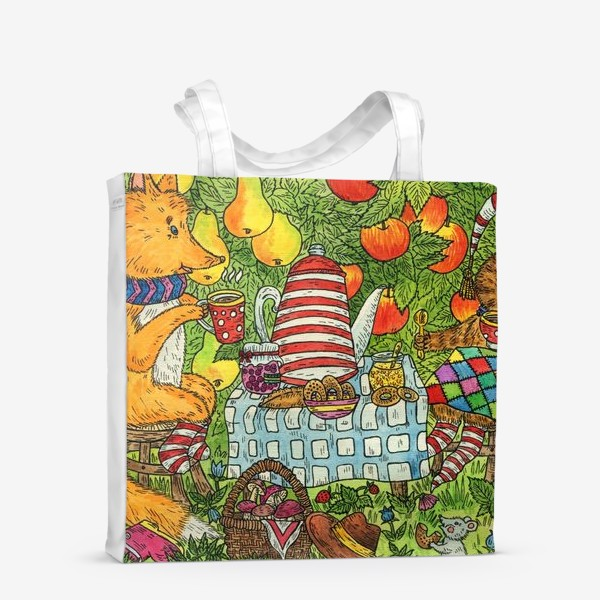 Сумка-шоппер «Лис и кот пьют чай в саду»