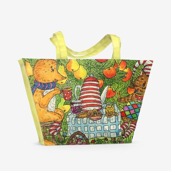 Пляжная сумка «Лис и кот пьют чай в саду»