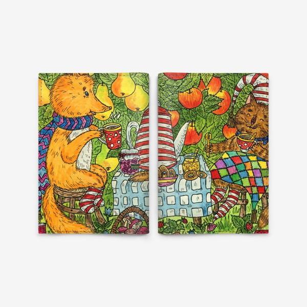Обложка для паспорта «Лис и кот пьют чай в саду»