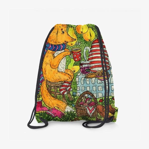 Рюкзак «Лис и кот пьют чай в саду»